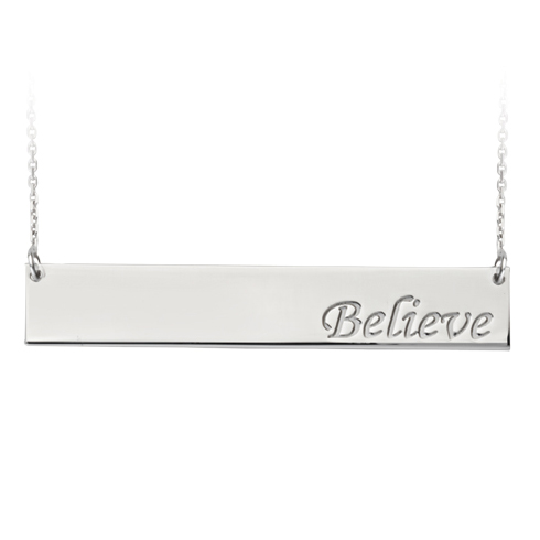 Sterling Silver Believe Bar 18in Necklace