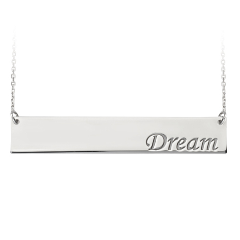 Sterling Silver Dream Bar 18in Necklace