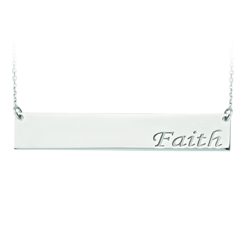 Sterling Silver Faith Bar 18in Necklace