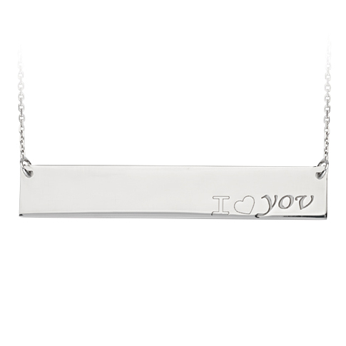 Sterling Silver I Love You Bar 18in Necklace