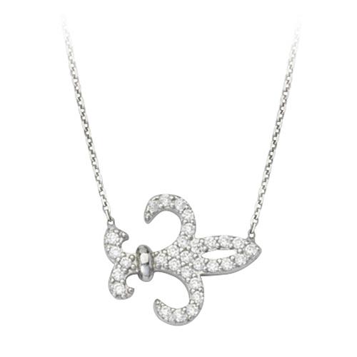 Sterling Silver CZ Fleur-de-lis 18in Necklace