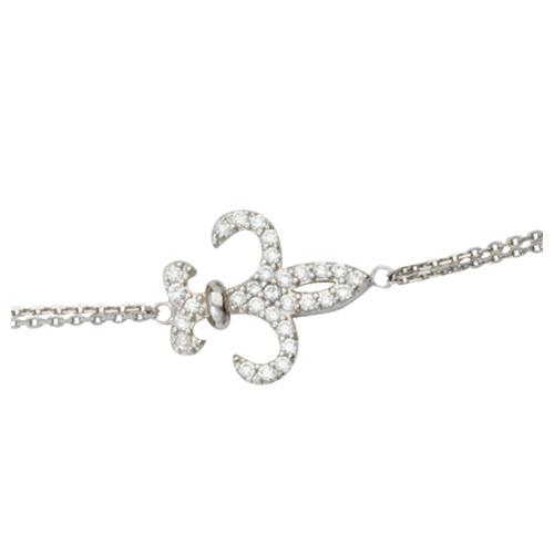 Sterling Silver Cubic Zirconia Fleur-de-lis Bracelet
