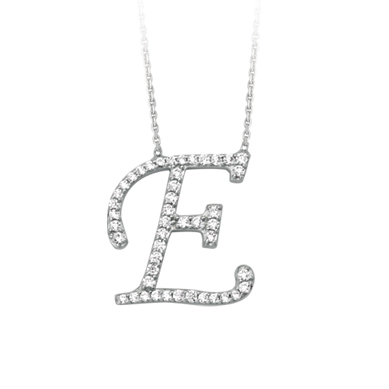 Sterling Silver Cubic Zirconia Capital E Necklace