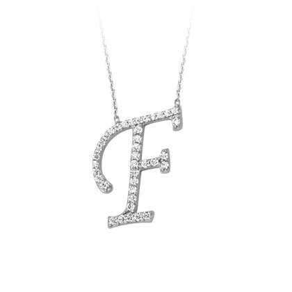 Sterling Silver Cubic Zirconia Capital F Necklace