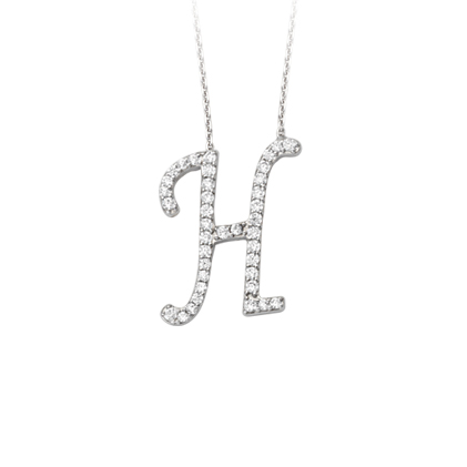Sterling Silver Cubic Zirconia Capital H Necklace