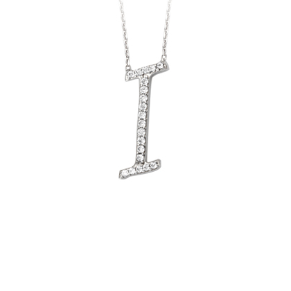 Sterling Silver Cubic Zirconia Capital I Necklace