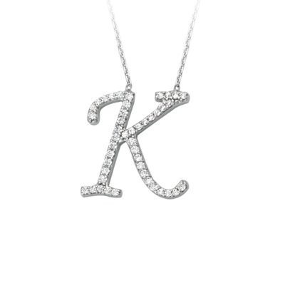 Sterling Silver Cubic Zirconia Capital K Necklace