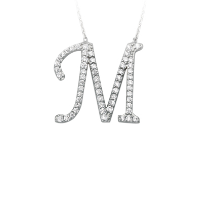 Sterling Silver Cubic Zirconia Capital M Necklace