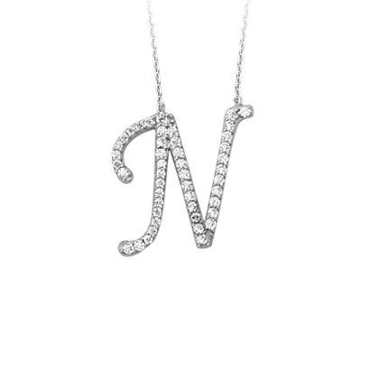 Sterling Silver Cubic Zirconia Capital N Necklace