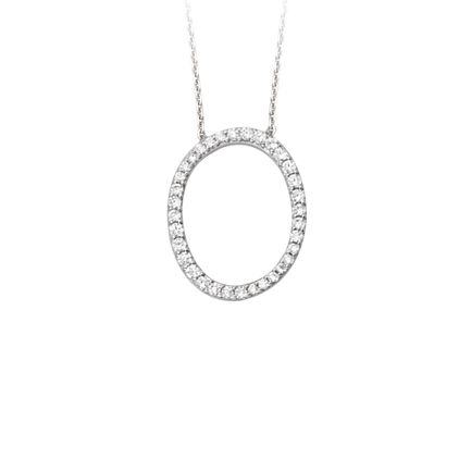 Sterling Silver Cubic Zirconia Capital O Necklace