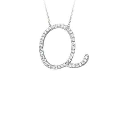 Sterling Silver Cubic Zirconia Capital Q Necklace