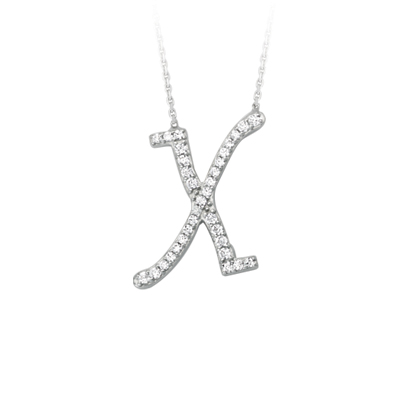 Sterling Silver Cubic Zirconia Capital X Necklace