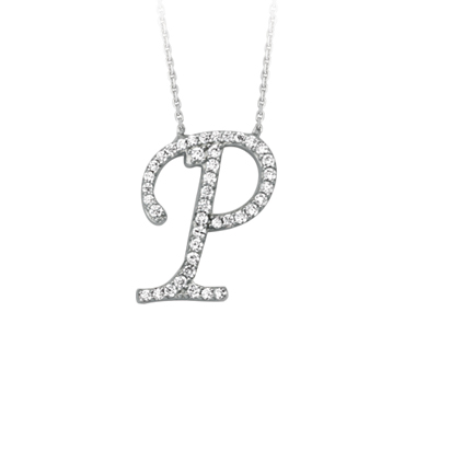 Sterling Silver Cubic Zirconia Capital P Necklace