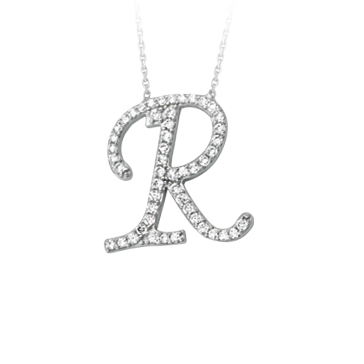 Sterling Silver Cubic Zirconia Capital R Necklace