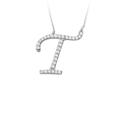 Sterling Silver Cubic Zirconia Capital T Necklace