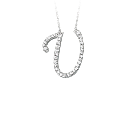 Sterling Silver Cubic Zirconia Capital U Necklace