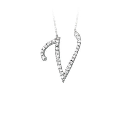 Sterling Silver Cubic Zirconia Capital V Necklace