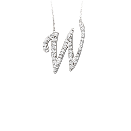 Sterling Silver Cubic Zirconia Capital W Necklace