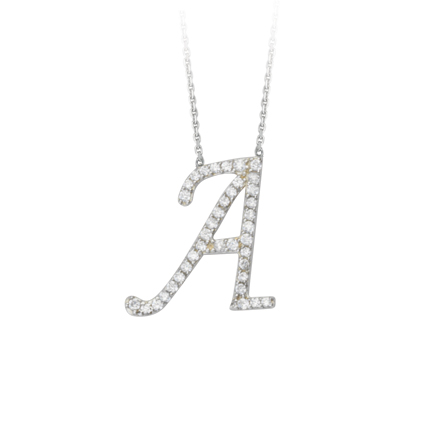 Sterling Silver Cubic Zirconia Capital A Necklace