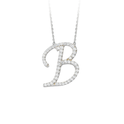 Sterling Silver Cubic Zirconia Capital B Necklace