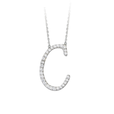 Sterling Silver Cubic Zirconia Capital C Necklace