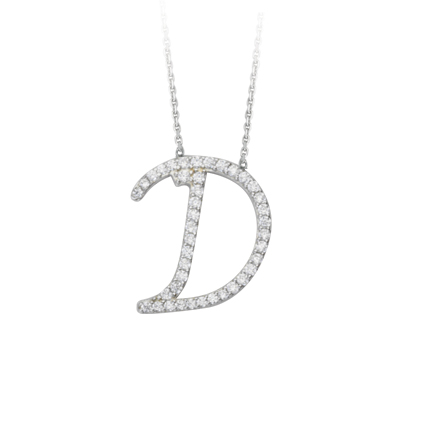 Sterling Silver Cubic Zirconia Capital D Necklace