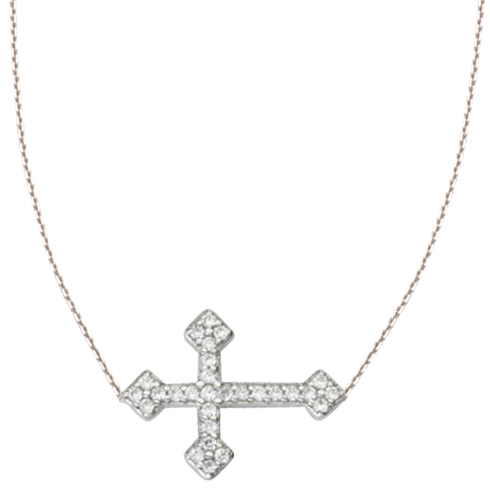 Sterling Silver CZ Fancy Sideways Cross Necklace