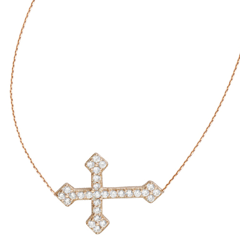 Rose Gold-plated Sterling Silver CZ Sideways Fancy Cross Necklace