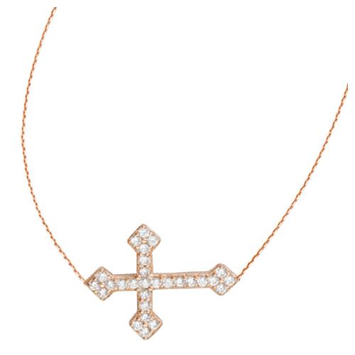 Rose Gold-plated Sterling Silver CZ Sideways Fancy Cross Necklace