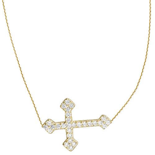 Gold-plated Sterling Silver CZ Fancy Sideways Cross Necklace