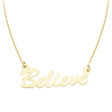 14kt Yellow Gold Believe 18in Necklace