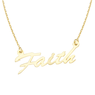 14kt Yellow Gold Faith 18in Necklace
