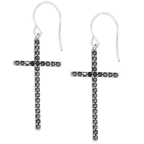 Sterling Silver 1 1/4in Black CZ Dangle Cross Earrings