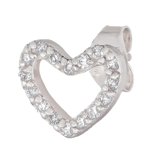 14kt White Gold .10 ct Diamond Single Heart Stud Earring