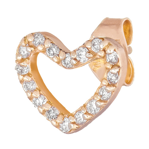 14kt Yellow Gold .10 ct Diamond Single Heart Stud Earring