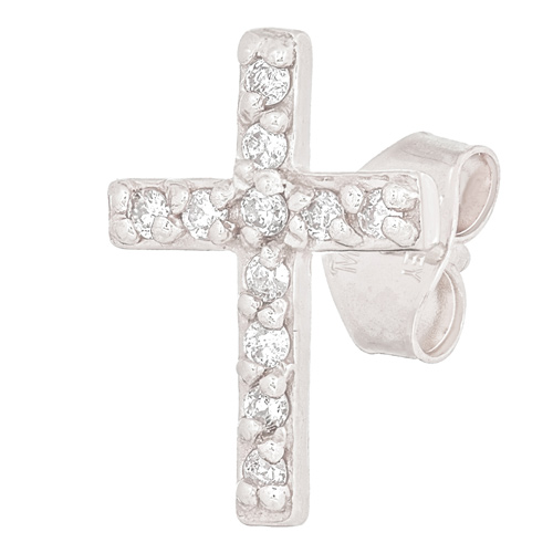 14kt White Gold .05 ct Diamond Cross Single Stud Earring