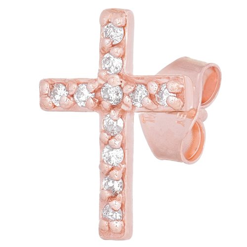 14kt Rose Gold .05 ct Diamond Cross Single Stud Earring
