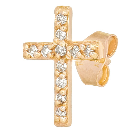 14kt Yellow Gold .05 ct Diamond Cross Single Stud Earring