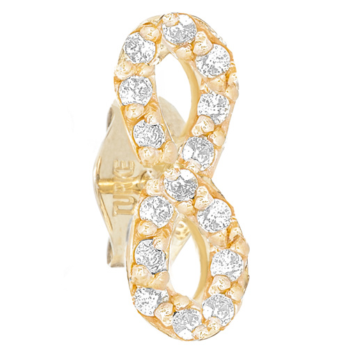 14kt Yellow Gold .10 ct Diamond Single Infinity Stud Earring
