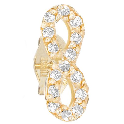 14kt Yellow Gold .10 ct Diamond Single Infinity Stud Earring
