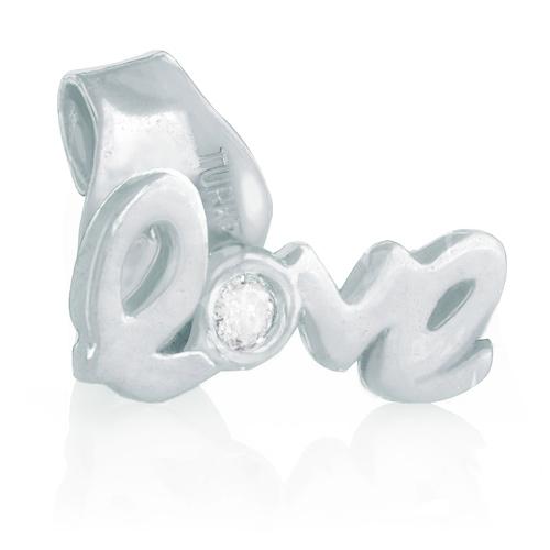14kt White Gold .01 pt Diamond Love Single Stud Earring