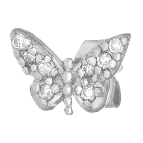 14kt White Gold .05 ct Diamond Single Butterfly Stud Earring