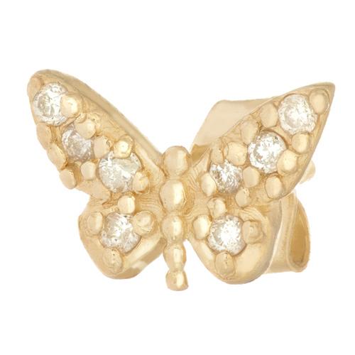 14kt Yellow Gold .05 ct Diamond Single Butterfly Stud Earring