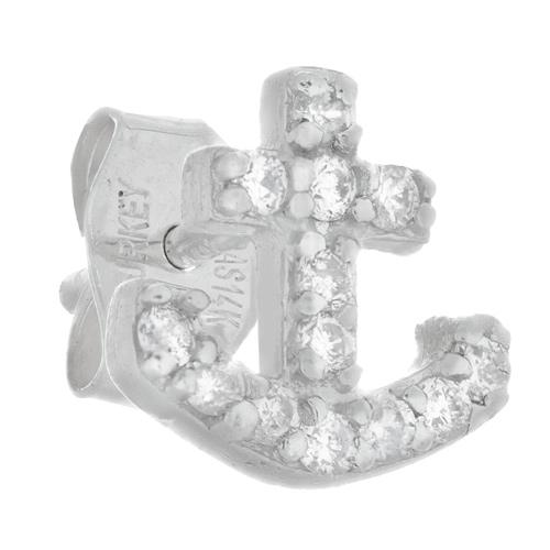 14kt White Gold .10 ct Diamond Single Anchor Stud Earring
