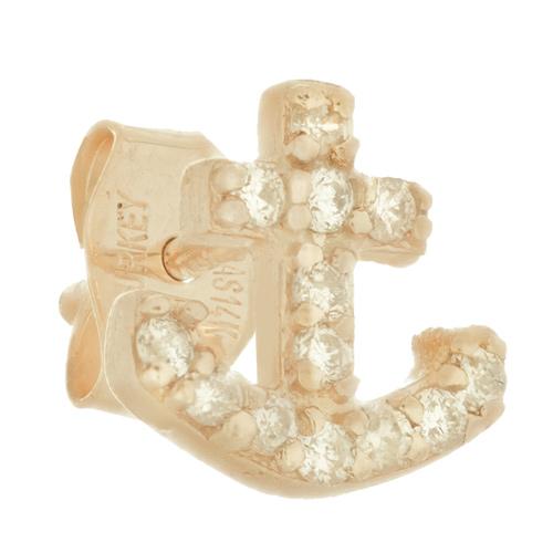 14kt Yellow Gold .10 ct Diamond Single Anchor Stud Earring
