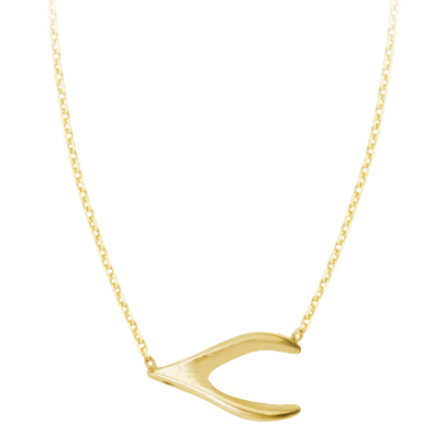 14kt Yellow Gold Wishbone 18in Necklace
