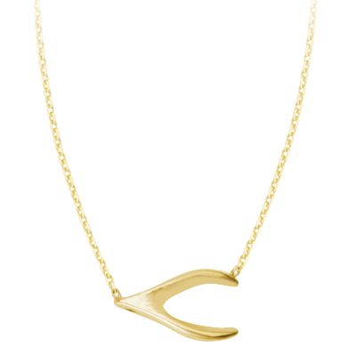 Gold-plated Sterling Silver Wishbone Charm 18in Necklace