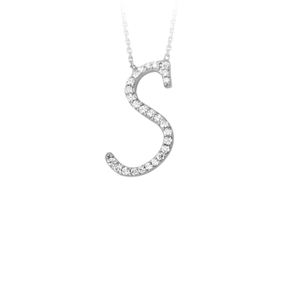 Sterling Silver Cubic Zirconia Capital S Necklace