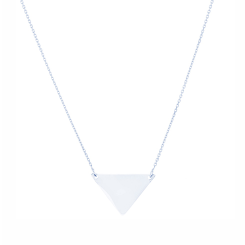 14kt White Gold Polished Triangle 18in Necklace