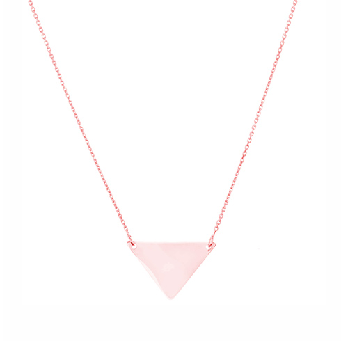 14kt Rose Gold Polished Triangle 18in Necklace